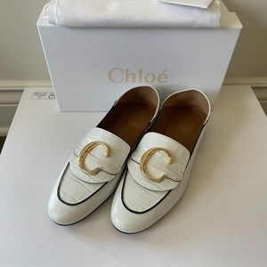 NEW Chloe Flat Leather Logo Fold- Down Loafers